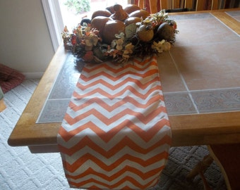 Halloween Orange chevron table runner ships in two days