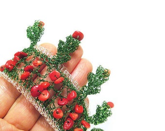 Xmas Red Green Bracelet Christmas tree Cuff Crochet Wire Pine Tree Twigs Unique Christmas gift Coral Lace Wire Mesh