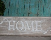 Custom Handmade Wood Sign HOME Weathered Rustic Shabby Chic Wedding