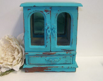 Vintage Jewelry Box, Blue Distressed Jewelry Box, Just for Her, Jewelry Holder, Shabby Chic Decor