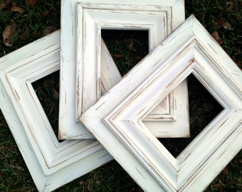 set of three simple & classic off-white 5x7 distressed picture frames | wedding decor | gift for bridesmaid | beach house decor | baby gift