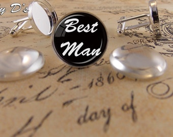 10 Silver Cuff Link Tray Kits (5 sets)- 10- (18mm) Cuff Link Trays with 10- (18mm) Clear Glass Cabochons