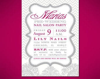 Bridal Nail Party Invitation Cards - Customized to Your Event