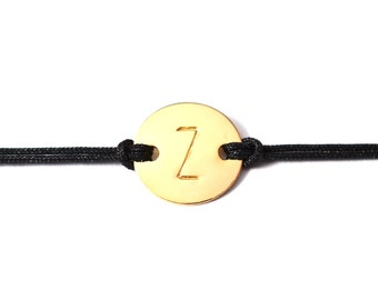 Personalized Initial Letter Monogram Friendship String Adjustable Bracelet