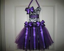 "NEW ""PURPLE DAMASK"" Hair Bow Holder Tutu Dress Ribbon Hairbow Door Display Storage Girls Baby Shower Gift"