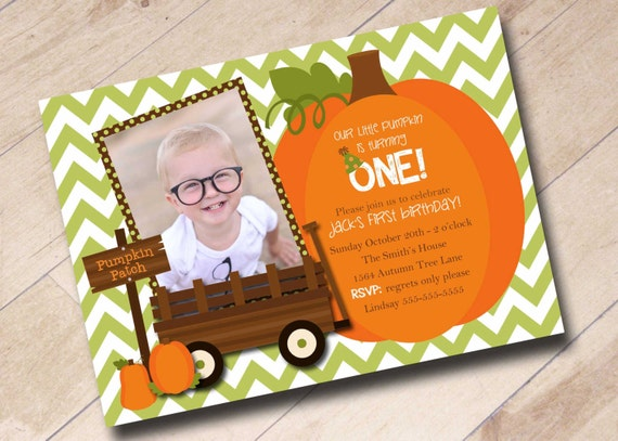 Our Little Pumpkin First Birthday Invitation - Fall Autumn Pumpkin Halloween Theme
