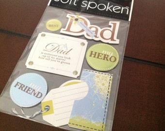Soft Spoken The best Dad stickers - Dimensional Embellishment - Scrapbooking Sticker