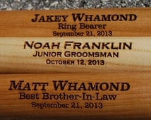 "Personalized Groomsmen Gifts - Engraved 18"" Mini Wood Baseball Bat for Ring Bearer Gift, Wedding, Usher and Groomsmen Keepsake"