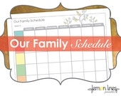 Weekly Family Schedule Printable - INSTANT DOWNLOAD