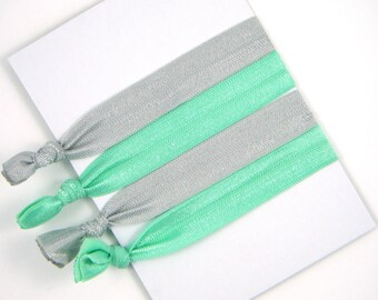 Hair Elastic Ribbons -- Mint and Grey