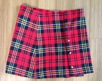 Retro 1960s Girls Scottish Tartan Wool Skirt/Kilt