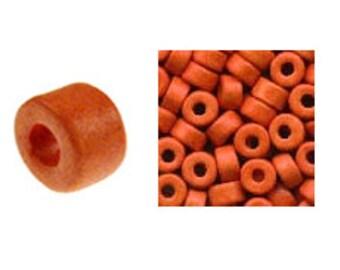 100 Mykonos Mini Tubes, 6mm X 4mm Orange Greek Ceramic Spacer Beads  (SKU#CT1#24)