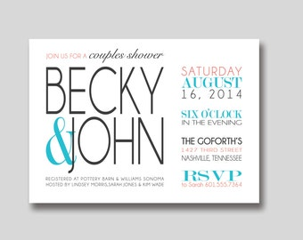 Modern Bridal Wedding Couples Shower Invitation - Custom DIY Printable