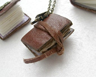 Book lovers gift, mini book necklace, book pendant,literature jewellery