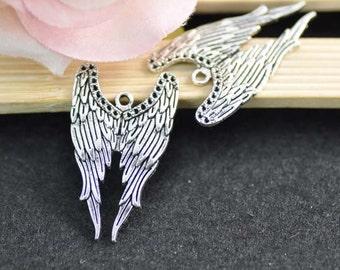 10pcs Antique Silver Angel Wings Charm Pendant - 24x40mm