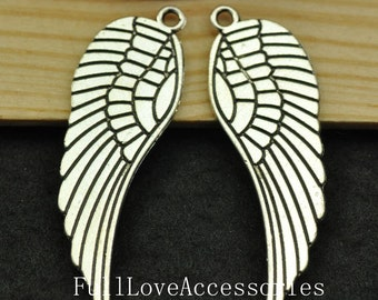 10pcs Wing Charms, 16x48mm Antique Silver Tone Angel Wing Charms Pendants