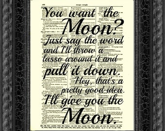 Lasso the Moon, It's a Wonderful Life Quote Printed On An Upcycled 1897 Dictionary Page Art Print Christmas Wall Decor Valentine's Day
