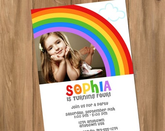 Rainbow Birthday Party Invitation with Photo (Digital - DIY)