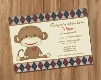 Sock Monkey Inspired Birthday Party Invitation (Digital - DIY)