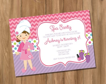 Spa Birthday Party Invitation - Pajama Party - Pampering Spa Party  (Digital - DIY)