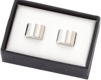 Personalized 2 Tone Silver Metal Cufflinks - Free Engraving
