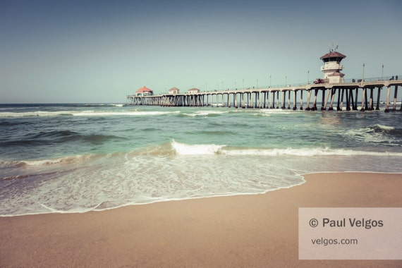 Huntington Beach Wall Decor : Huntington beach pier wall art print canvas metal