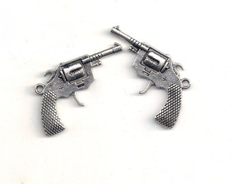 Pendants: Revolver, Pistol, Six-shooter, Gun, Silver Charm, Set of 2, 40x26mm, Large Gun Pendant,, SLT136