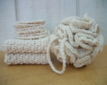 Spa set - Bath/shower pouf, set of two crocheted washcloths, set of 6 crocheted face scrubbies