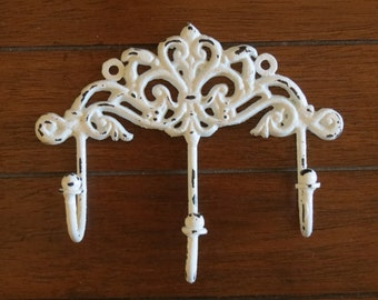 Shabby Chic Wall Hook / Cottage Chic Hook/Key Hanger/Key Hook Rack/French Cottage/Pale Blue or Pick Your Color/Towel Hook/ Jewelry Hook