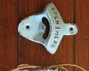 Aqua Blue Bottle Opener/ Cast Iron/ Wall Mounted/Vintage Inspired / Mancave Kitchen Gameroom Patio Decor / Groomsman Gift / Stocking Stuffer