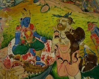 Detailed depiction of The Demon King   HINDU artwork