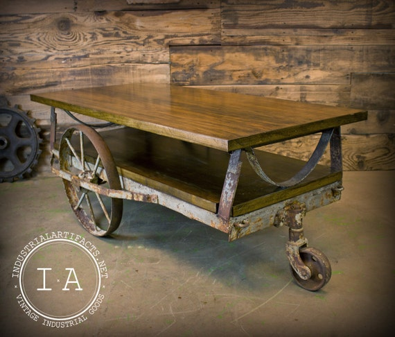 Industrial Wheels For Coffee Table: Vintage Industrial Janesway Rumble Factory By
