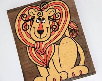 1970s Lion Painting on Wood / Nursery Art / Leo the Lion / Letter L