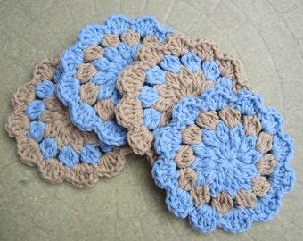 Crochet Cotton Coasters,  Blue Beige Coasters, Hostess Gift,  Set of 4 Flower Coasters, Crochet Housewares