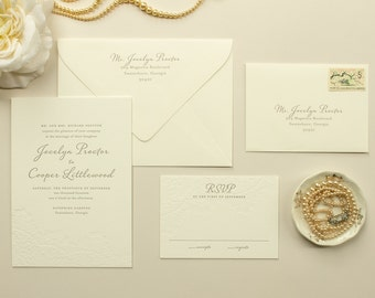 Blind Letterpress Invitation, Letter Press Wedding Invitations, Elegant Invite with Blind Impress Lace | Invitation DEPOSIT - Harmony