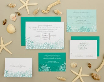 Destination Wedding Invitation, Coral Reef Invitation, Beach Wedding Invite,  Casual Blue Invitation SAMPLE