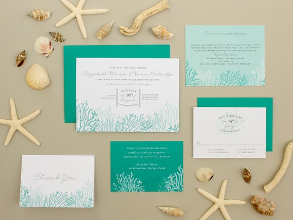 Destination Wedding Invitation, Coral Reef Invitation, Beach Wedding Invite, Casual Blue Invitation SAMPLE   Reef