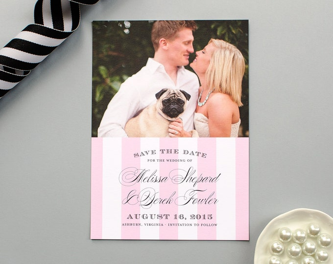 Stripe Save the Date for Elegant Weddings, Formal Photo Save the Date Cards, Classic Wedding Save the Dates with Pink Stripes   Debonair