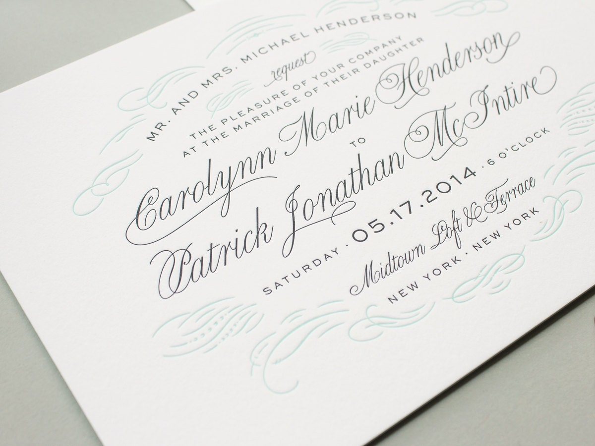 Wedding Invites Letterpress: Letterpress Wedding Invitations Navy Letterpress By