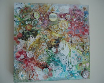 Cross of cherubs - Abstract Mixed Media on Canvas -