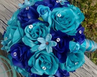 Malibu Blue & Royal Blue Rose Wedding Bouquet, Malibu Blue Bouquet, Royal Blue Turquoise Bouquet, Royal Blue Bouquet, Turquoise Bouquet