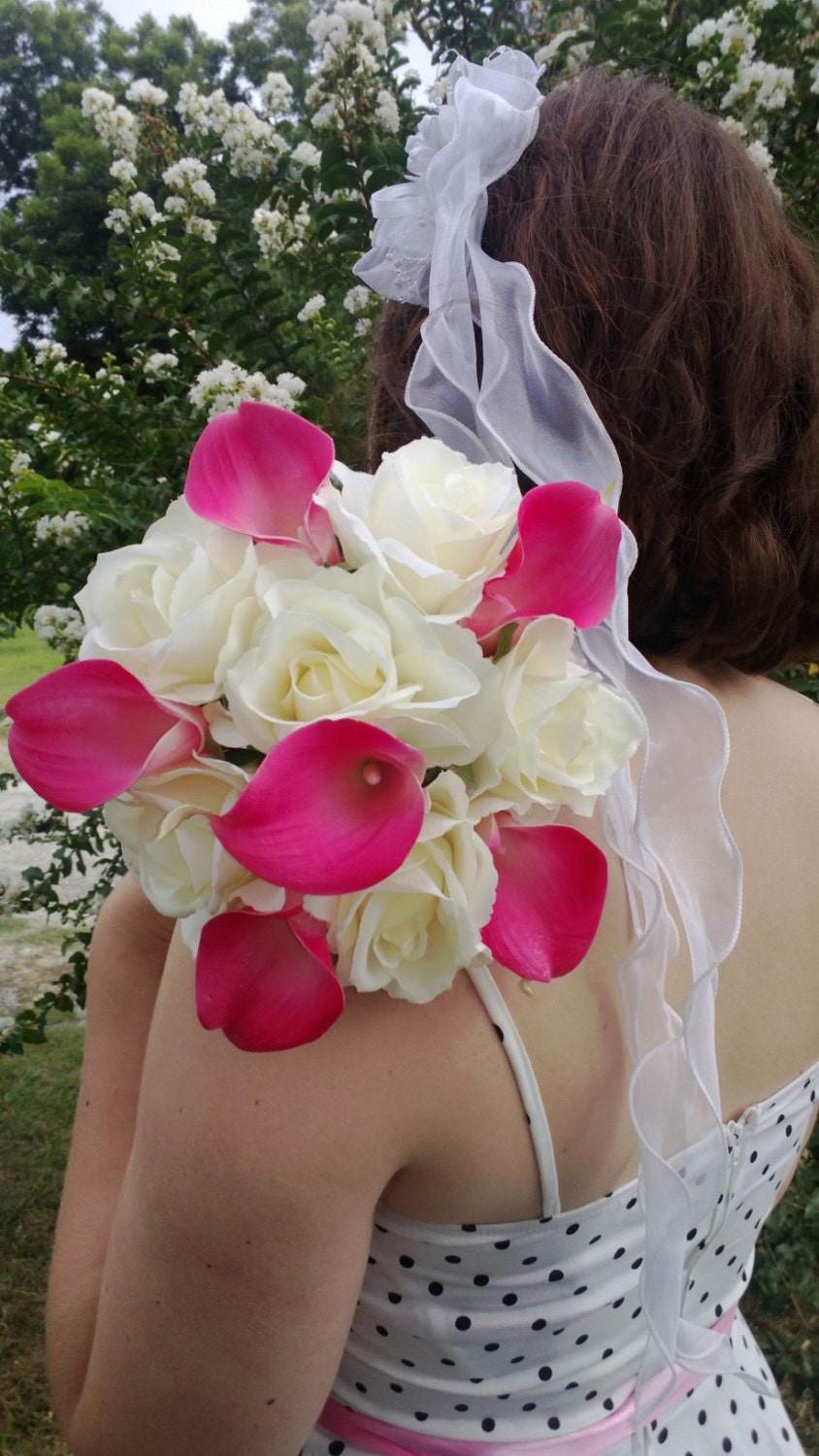 Real Touch Hot Pink Calla Lily Ivory Rose Wedding Bouquet Hot