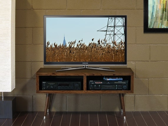 Mid Century Modern Tv Stand Mayan Double Bay By Woodwavesinc