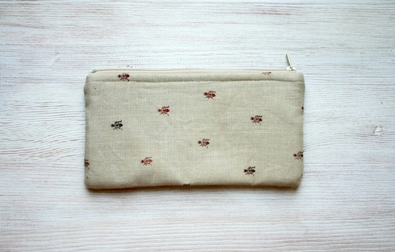 zipper pouch, pencil case, hand printed linen, back to school, ants