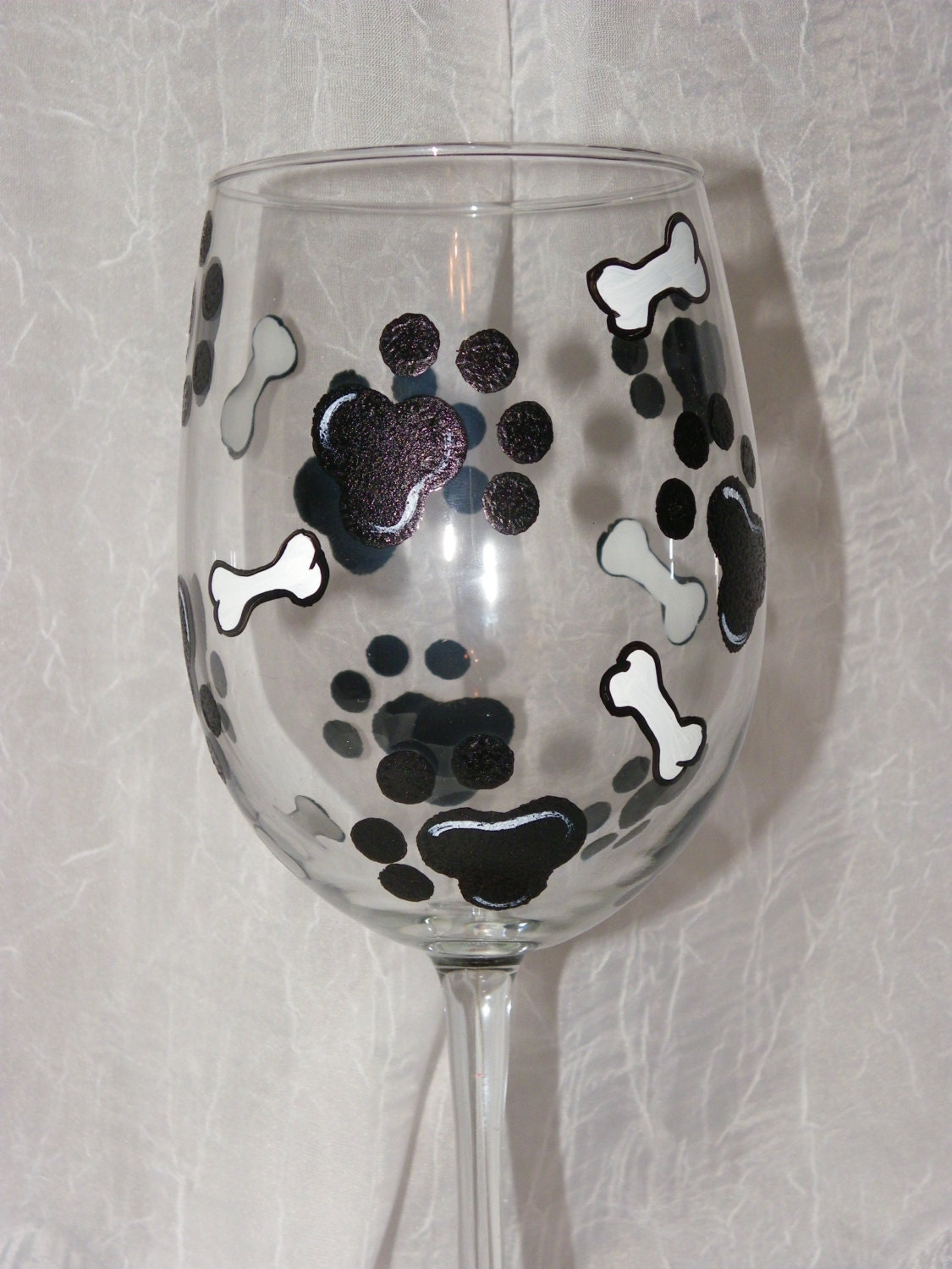 Dog Paws And Bones Hand Painted Wine Glasses