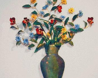 Vase of Flowers, Painted Copper Wall Sculpture