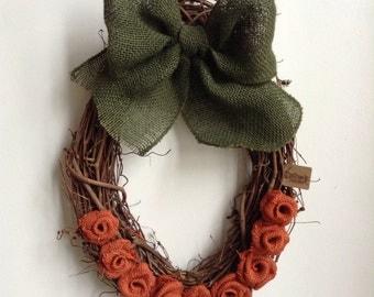 Pumpkin Wreath, Fall Wreath, Orange Wreath, Oval Wreath