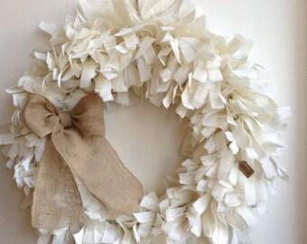 "35"", Burlap Christmas Wreath,Coastal Living, Christmas Wreath, Spring Wreath, White Wreath, Summer Wreath, Spring Wreath, Everyday Wreath"