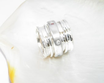 Hammered Triple Band Sterling Silver Spinner Ring with 6 Multicolor CZ stones