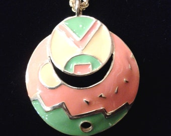 Funky 70's modern pendant with multi colored enamel painting